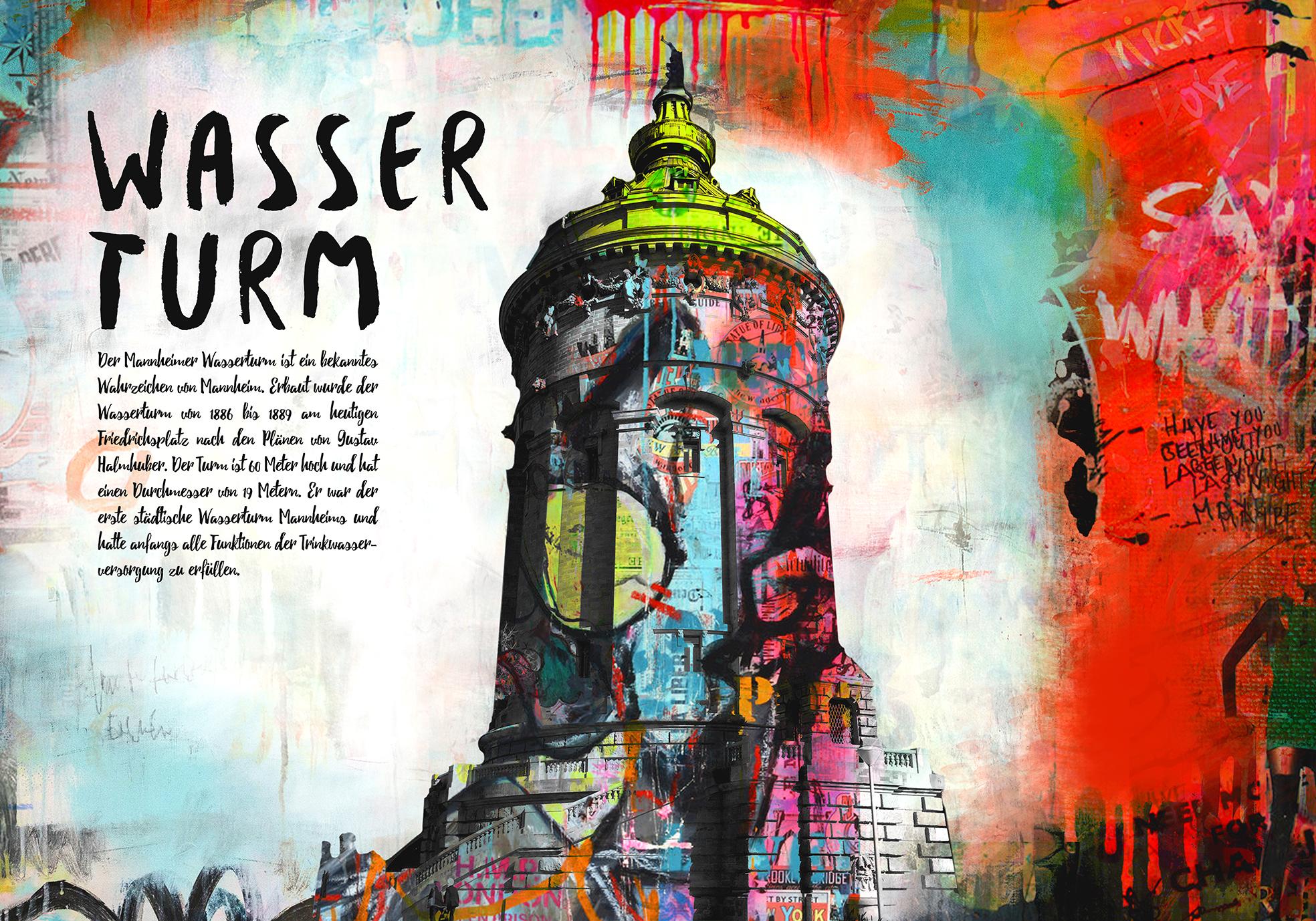 Mannheim Wasserturm - Format 120 x 90 cm