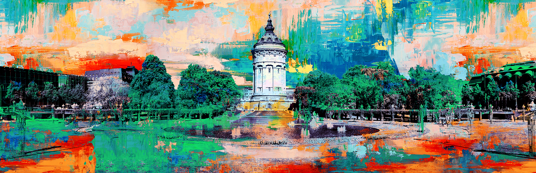 Mannheim Wasserturm - Format 180 x 60 cm