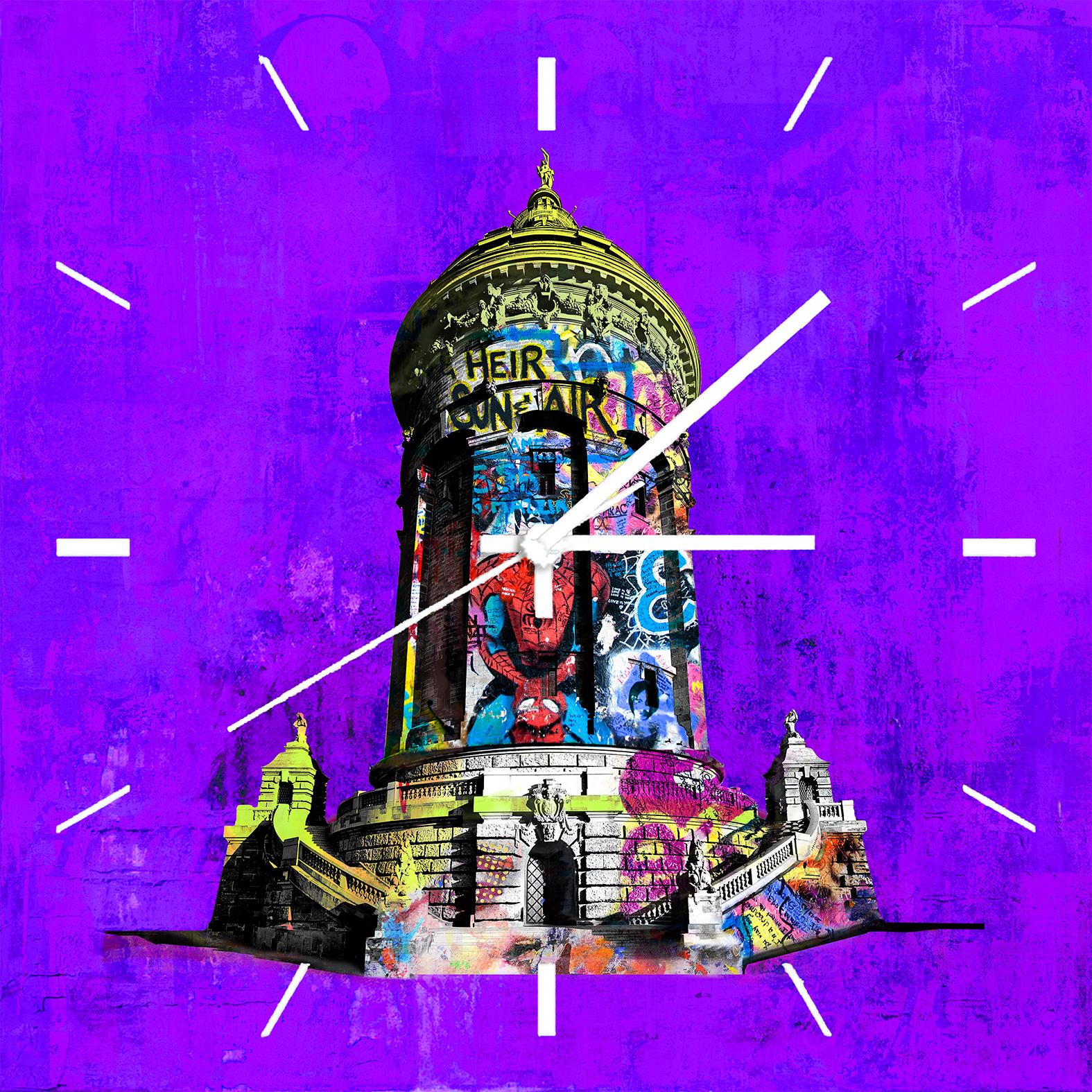 Wanduhr Wasserturm - Format 35 x 35 cm